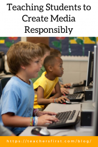 Pinnable Image of two boys working on computers and the blog post title: Teaching Students to Create Media Responsibly
