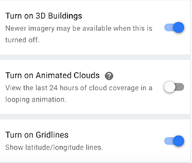Google Earth 3D Buildings Dialog
