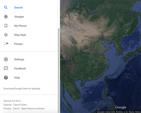 Google Earth Web View with Sidebar